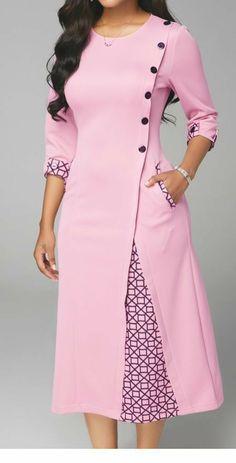 Stylewe Abendkleider Langarm Wickelkleider Daily High Low Revers Elegant Wra Source by Dress Neck Designs, Stylish Dress Designs, Designs For Dresses, Stylish Dresses, Blouse Designs, Elegant Dresses, Casual Dresses, Salwar Designs, Kurta Designs Women