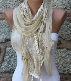 ON SALE - Yellow  Lace Scarf Shawl Scarf -  Cowl - fatwoman bridesmaid gifts on Etsy, $22.50