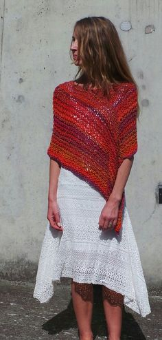 Poncho red Poncho red tweed mix poncho pinks and red by ileaiye