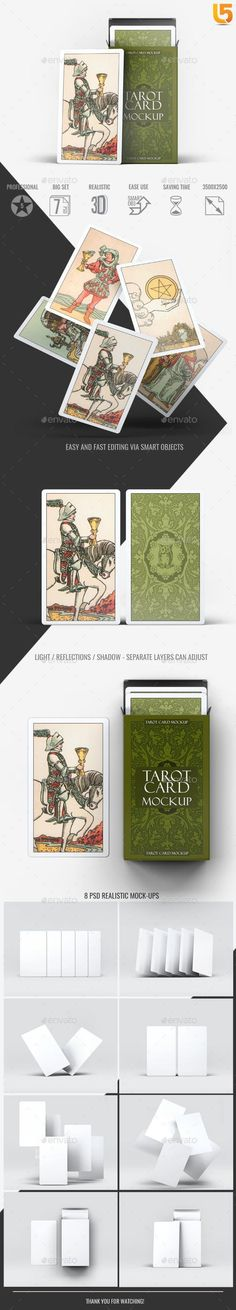 Buy Tarot Card Mock-Up by on GraphicRiver. Tarot Card Mock-Up Features 8 Photorealistic presentations Photoshop CS or higher compatible PSD files Resolution Online Presentation, Presentation Templates, Graphic Design Templates, Print Templates, Buy Tarot Cards, Mockup Photoshop, Box Mockup, Brand Identity Design, 3 D