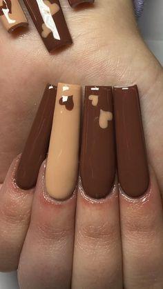 Classy Acrylic Nails, Colored Acrylic Nails, Acrylic Nails Coffin Pink, Long Square Acrylic Nails, Nude Nails, Coffin Nails, Acrylic Nail Designs Coffin, Fall Acrylic Nails, Long Square Nails