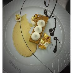 Today's Plate up! @keahmilne  @_ash93 & myself got #creative ... #playing with our food again  #salted #caramel #macadamia #tart with #earlgreytea #ganache #caramel #popcorn #vanillabean #cream #chocolate  #foodart #tastebudparty #ilovemyjob #pastrychef #partyinyourmouth #theartofplating #chefsofinstagram #chefstalk #create #pastrycheflife #plated #dessertmasters #dilmah by melday15