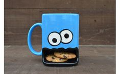 「Googly Eyed Monster Ceramic Cookie and Milk Dunk Mug 」