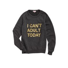 Women's Bow & Drape I Can'T Adult Today Sweatshirt ($65) ❤ liked on Polyvore featuring tops, hoodies, sweatshirts, charcoal, cocktail tops, holiday tops, holiday sweatshirts, sparkly evening tops and sequin sweatshirt
