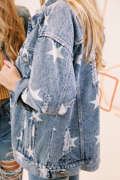 Milky Way Star Printed Distressed Denim Jacket, Denim Blue The barred-spiral, glowing, along with star-splattered Rachel Berry, Spencer Hastings, Adelaide Kane, Zooey Deschanel, Anne Hathaway, Painted Denim Jacket, Distressed Denim Jackets, Distressed Clothes, Demin Jacket
