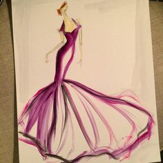 Sketch by Christian Siriano: satin trumpet gown. Sketch prints are available online at ChristianSiriano.com #cssketch
