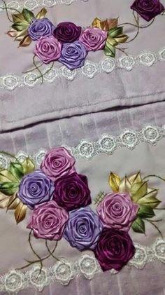 Wonderful Ribbon Embroidery Flowers by Hand Ideas. Enchanting Ribbon Embroidery Flowers by Hand Ideas. Embroidery Floss Crafts, Types Of Embroidery, Learn Embroidery, Embroidery For Beginners, Hand Embroidery Patterns, Embroidery Designs, Satin Ribbon Roses, Ribbon Art, Diy Ribbon