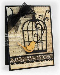 bird cage, music sheet paper, cream, black