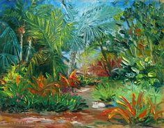 Daily Painting 1024 Heathcote Botanical Gardens Palm Garden Plein Air Painting Demo -- Lori McNamara