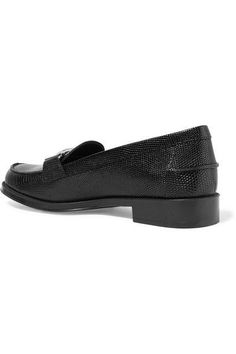 Tod's - Lizard-effect Leather Loafers - Black