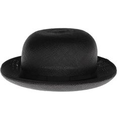 CHRISTYS Panama Bowler Panama hat (£59) ❤ liked on Polyvore featuring accessories, hats, black, cappelli, headwear, wide brim hat, boho chic hats, bohemian hats, ribbon hat and vintage hats