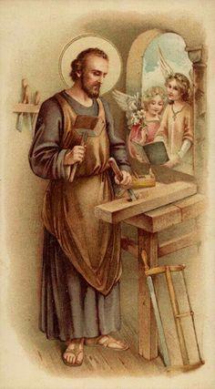 Joseph the Worker Catholic Art, Catholic Saints, Religious Art, Jesus Christ Images, Jesus Faith, Christian Images, Christian Art, Catholic Pictures, Vintage Holy Cards