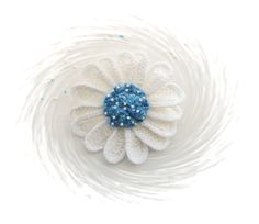 Crochet Daisy Flower Brooch  Crochet Marguerite  by CraftsbySigita