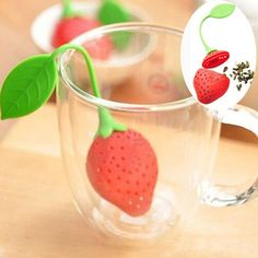 1 Strawberry Design Herbal Spice Tea Leaf Strainer Infuser Filter Silicone Loose New Hot Selling