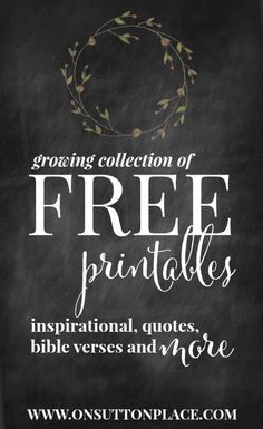 Original Free Printables from On Sutton Place. Perfect for DIY wall art, cards… Diy Spring, Summer Fall, Chalkboard Art, Chalkboard Designs, Free Prints, Diy Wall Art, Printable Wall Art, Printable Quotes, Printable Letters