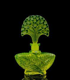 Bohemian Czech ART Deco Vaseline Glass Perfume Bottle Flower Signed Pesnicak   eBay
