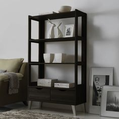 Shop for Baxton Studio Kalien Contemporary Dark Brown Wood Leaning Bookcase with Display Shelves and Two Drawers. Get free delivery On EVERYTHING* Overstock - Your Online Furniture Shop! Get in rewards with Club O! 3 Shelf Bookcase, Etagere Bookcase, Bookshelves, Small Bookcase, Wood Shelf, Contemporary Bookcase, Contemporary Design, Brown Wood, Dark Brown