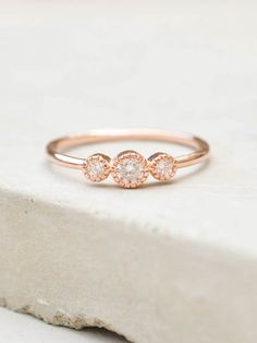 3-Stone Milgrain Ring - Rose Gold                                                                                                                                                                                 More