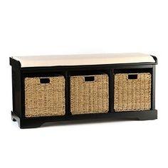 Black Cushioned Storage Basket Bench | Kirkland's