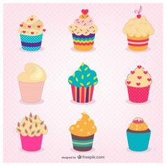Cute Cupcakes Free Vector