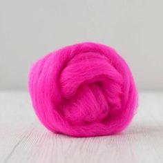 DHG Merino Wool Combed Top / Roving - Shocking Pink #merinoroving #spinningrove #woolferspinning #feltingwool #wooltop #woolroving #australianmerino #pinkroving Nuno Felting, Needle Felting, Spinning Wool, Drop Spindle, Sources Of Fiber, Powder Pink, Wool Felt, Merino Wool, Weaving