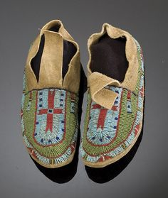 Arapaho Beaded Buffalo Hide Moccasins, - Cowan's Auctions