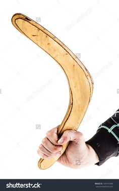 A Traditional Wooden Australian Boomerand Isolated Over A White Background Foto Stock 149191940 : Shutterstock