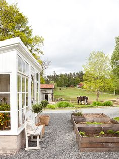 farmhouse Garden room I would absolutely love to have a box garden someday, and if it looks like this all the better! Dream Garden, Home And Garden, Outdoor Spaces, Outdoor Living, Greenhouse Gardening, Greenhouse Ideas, Garden Boxes, Garden Spaces, Glass House