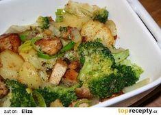 Zapečené brambory s brokolicí a kuřecím masem recept - TopRecepty.cz Broccoli, Paleo, Food And Drink, Chicken, Vegetables, Cooking, Recipes, Nova, Decor