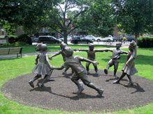 Statue of Children in Needham Town Center