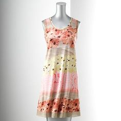 SIMPLY VERA WANG Womens Smocked Shirt DRESS Watercolor Boyfriend Brown Hi Lo Hem