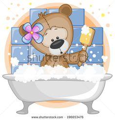 Website Photo Gallery Examples Cute cartoon Teddy bear in the bathroom stock vector