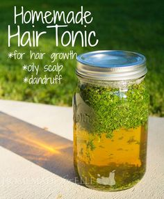 Homemade Hair Tonic. Use this simple recipe to promote hair growth, treat oily scalp, & dandruff. It takes a few minutes to prepare and lasts 6 months.