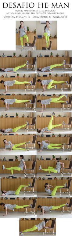DESAFIO HE-MAN - Ótimo exercício pra tonificar variadas partes do corpo. Arrume…