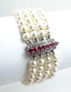 Vintage-1950s-60s-Ruby-Diamond-18k-White-Gold-Pearl-Bracelet-1700-Cert-Appr