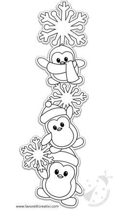 Decorazioni invernali con pinguini e fiocchi di neve Lavoretti Creativi Coloriage de noel à imprimer Christmas Crafts For Kids, Felt Christmas, Christmas Colors, Simple Christmas, Holiday Crafts, Christmas Decorations, Christmas Ornaments, Navidad Diy, Christmas Drawing