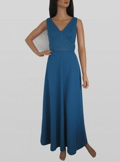 Vintage 1970s Blue V-neck Maxi Dress With Swarovski Sequins available to buy online at Virtual Vintage Clothing £45