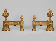 Antique pair of gilt bronze andirons, Louis XVI style, with fire pots decor (Reference - Firedogs, andirons - Available at Gallery Marc Maison Fire Pots, Architectural Antiques, Louis Xvi, French Style, Urn, French Antiques, 19th Century, Carving, Bronze