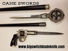 Steampunk walking sticks with hidden daggers at bigswitchbladeknife.com