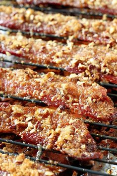 Bacon You're only 3 ingredients and about 30 minutes away from Praline Bacon deliciousness!You're only 3 ingredients and about 30 minutes away from Praline Bacon deliciousness! Bacon Recipes, Brunch Recipes, Appetizer Recipes, Breakfast Recipes, Cooking Recipes, Easy Recipes, Meat Appetizers, Breakfast Bites, Healthy Recipes