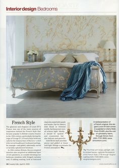 The elegant Louis XV bed comes in a painted or cherry finish from Simon Horn. http://simonhorn.com/ Country Life 6th April 2016
