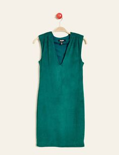 26€ robe ajustée en suédine émeraude