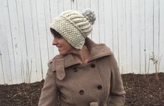 Knit this cozy slouch hat in no time with Wool-Ease Thick & Quick! Free pattern by Threaded Together calls for 1 skein of yarn (pictured in fishermen) and size 13 (9mm) knitting needles. Adult and child sizes!