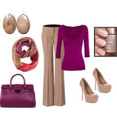"""Business casual for the fall"" by anlocke on Polyvore--I like the color combination, but of course I'd have neutral flats even though those heels are gorgeous"