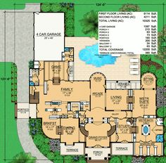 All the Bells and Whistles - floor plan - Main Level Dream House Plans, House Floor Plans, My Dream Home, Barrel Vault Ceiling, Two Sided Fireplace, Fireplace Wall, Mediterranean House Plans, Grand Foyer, Ceiling Treatments