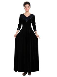 Drasawee Womens 3/4 Sleeves Maxi Evening Dresses VNeck Prom Party Gowns BlackUS8 *** Click on the image for additional details. (This is an affiliate link and I receive a commission for the sales) #PromandHomecomingDress