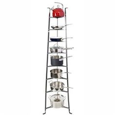 """8 Tier Cookware Stand - Knock Down Version (Hammered Steel) (68""""H x 16.5""""W x 19.5""""D) by Enclume. $504.99. Tripod design for convenient storage.. 8 shelves for storage.. Easy access to pots and pans.. Size: 68""""H x 16.5""""W x 19.5""""D. Color: Hammered Steel. The 8 Tier Cookware Stand - Knock Down Version offers convenient storage for pots and pans. Inspired by antique French baker's racks, this stand has a classic design that is both durable and attractive. With open shelves this pot..."""
