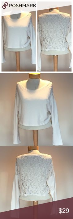 "Hollister off white lace back top. Size medium. Excellent condition Hollister off white sweatshirt like lace back top. Size medium.   Cotton/poly/nylon. 17"" long. Hollister Tops Sweatshirts & Hoodies"