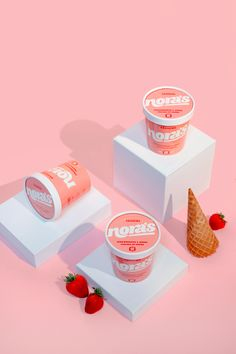 Nora's Non-Dairy Ice Cream strawberry tub packaging design. Nora's Non-Dairy Ice Cream strawberry tub packaging design. Packaging Design, Branding Design, Identity Branding, Ice Cream Packaging, Beverage Packaging, Non Dairy Ice Cream, Ice Cream Tubs, Food Photography Styling, Product Photography
