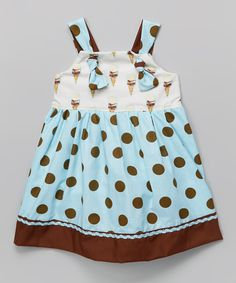Look at this Blue Polka Dot Knot Tie Dress - Toddler